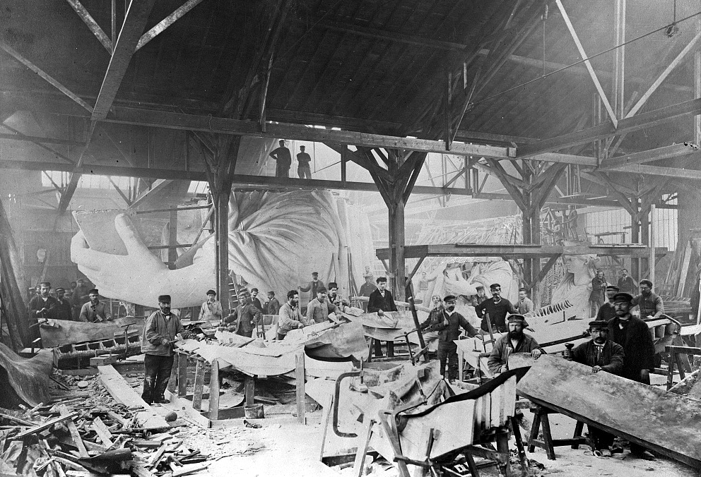 Workmen constructing the Statue of Liberty in Bartholdi's Parisian warehouse, 1882