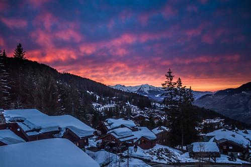 sunset snow france dusk chalets latania rhônealpes