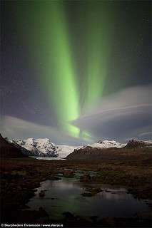 Northern Lights over Svínafellsjökull, south Iceland
