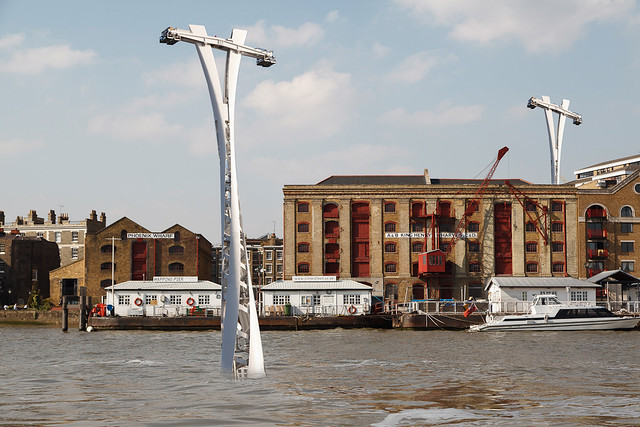 Wapping Cable Car pylons appear overnight