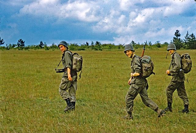 Vintage Kodachrome. June 1961. Reims (France).  Soldiers on patrol.