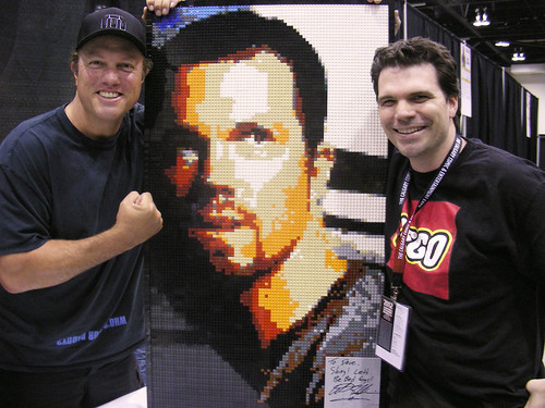 Adam Baldwin with Jayne Lego Mosaic