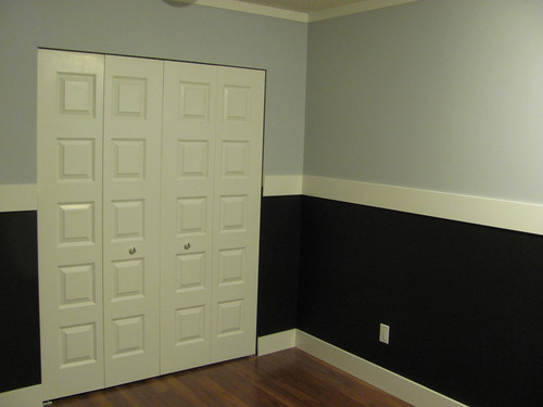 Closet with blackboard wainscotting