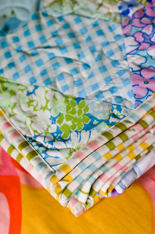 Vintage Sheet Patchwork Prism Quilt by jenib320