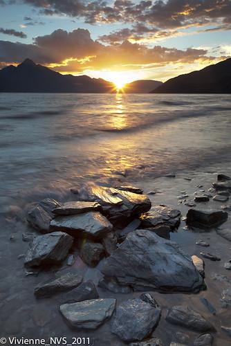 sunset newzealand lake queenstown lakewakatipu