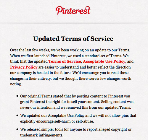 Pinterest - Updated terms of service