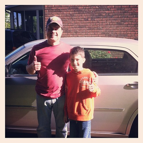 My big guy and my little guy...heading out this morning to Land Between the Lakes. #homeschoolelementarytrip #lca