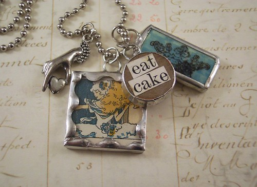 Marie Antoinette mixed media charm necklace