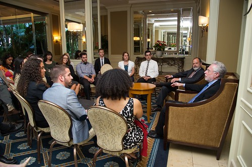 The Artist & Wolf meeting with UCLA students prior to the eventAthletes Alliance And UCLA Present A Private Briefing With Wolf Blitzer