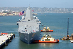 In this file photo, the San Antonio-class amphibious transport dock ship USS San Diego (LPD 22) arrives in San Diego May 14 for its May 19 commissioning ceremony. (U.S. Navy photo by Mass Communication Specialist 1st Class Denny Cantrell)