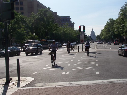 Pennsylvania Avenue NW Cycletrack, Bike to Work Day, US Capitol in the Foreground