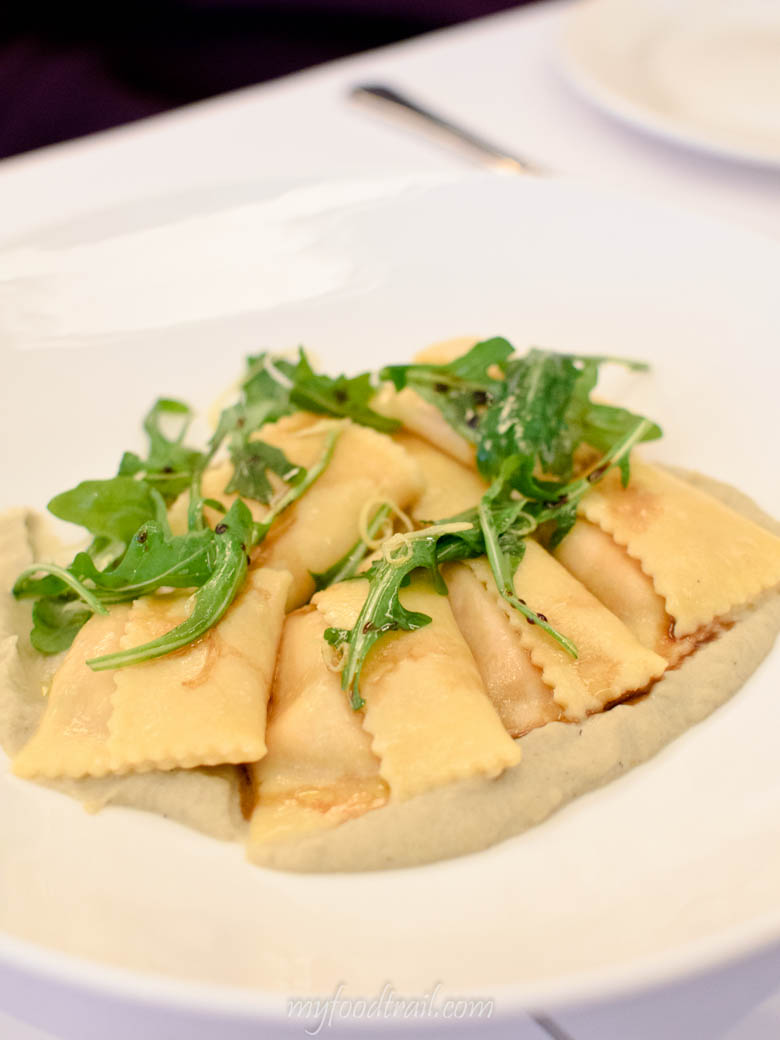 Bottega - Roasted tomato & burrata agnolotti, smoked eggplant puree, lemon rocket, balsamico