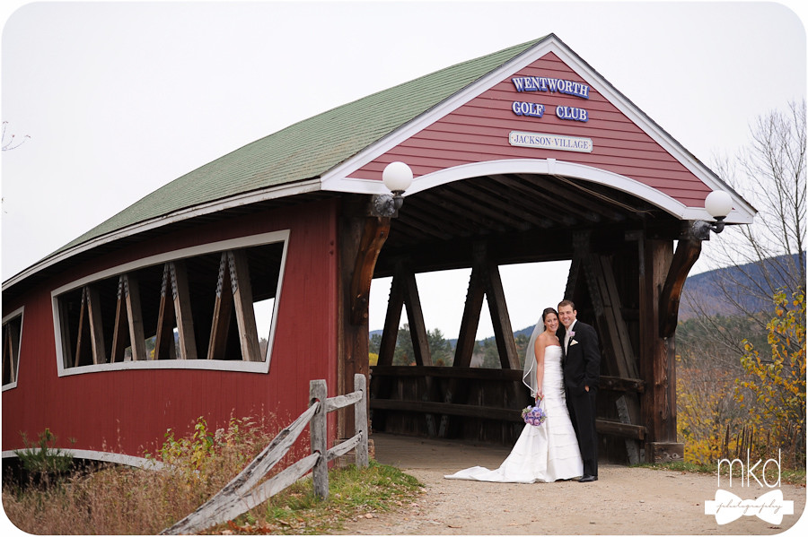 Bride & Groom at the covered bridge - Wentworth Golf Club