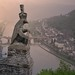 Neo-gothic Knight's Castle in Cochem rises above the Mosel