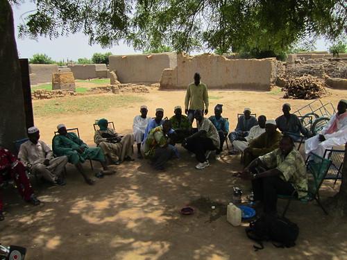 Los hombres reunidos bajo un árbol durante la mañana.