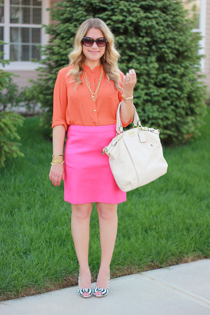 pink and orange office outfit
