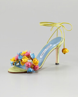 Manolo Blahnik Liseux Flower Ankle-Tie Sandal NM Retail $830 on sale for $556