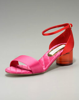 Stella McCartney Low Acrylic-Heel Colorblock Sandal NM Retail $975 on sale for $653