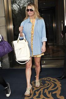 Jessica Simpson Denim Shirt Celebrity Style Woman's Fashion