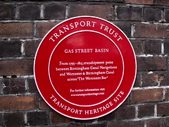 Photo of Gas Street Basin and Worcester Bar red plaque
