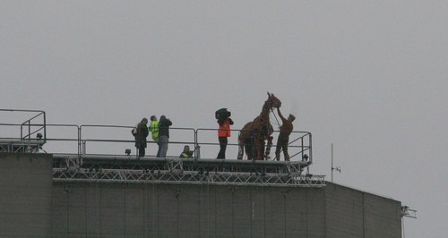 Rehearsals for the War Horse on top of the National Theatre