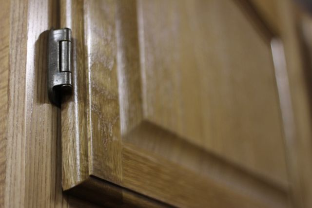 Oak Kitchen Cabinets with Exposed Hinges  Flickr  Photo Sharing!