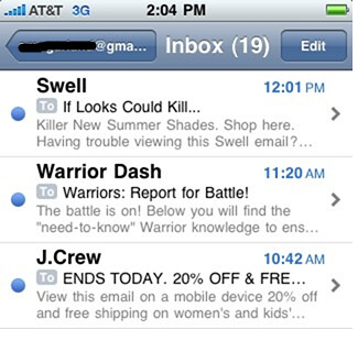 This is what preheaders look like in a mobile inbox.