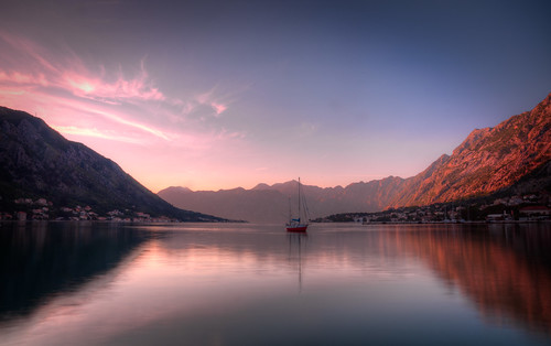 pink sunset sky water clouds sailboat bay hdr montenegro gregweeks kotor canon5dmarkii