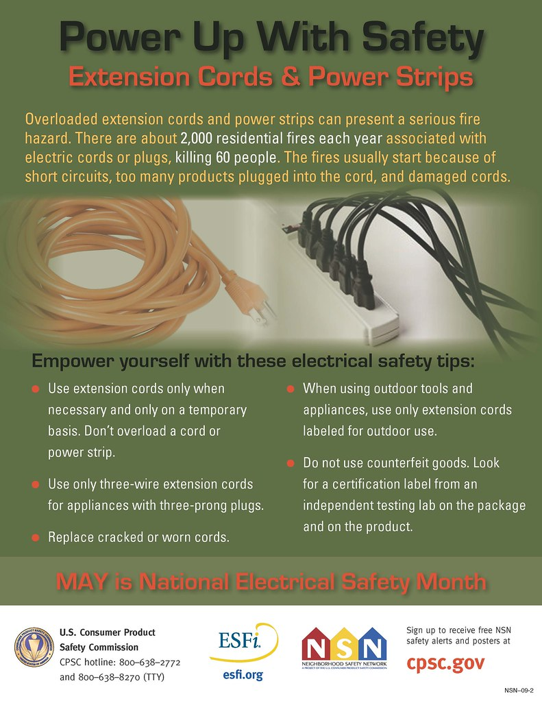 extension cord and power strip safety poster
