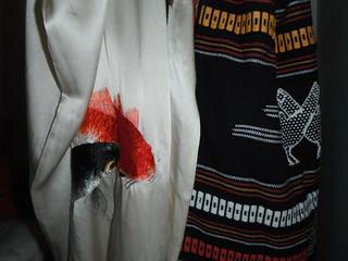 EMBROIDERED KOI ON SILK AND PIT-LOOM WOVEN BAG