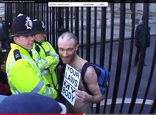 That blue rucksack is jammed full of books in preparation for being remanded in prison, at the start of my non-stop naked protest 17 December 2000