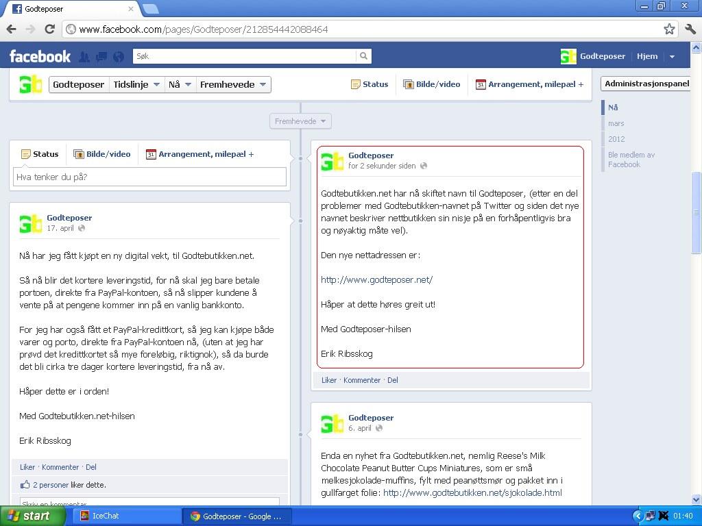 ny oppdatering facebook