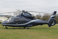 G-CGGD - 1991 build Eurocopter AS365N2 Dauphin II, at the 2012 Cheltenham Festival