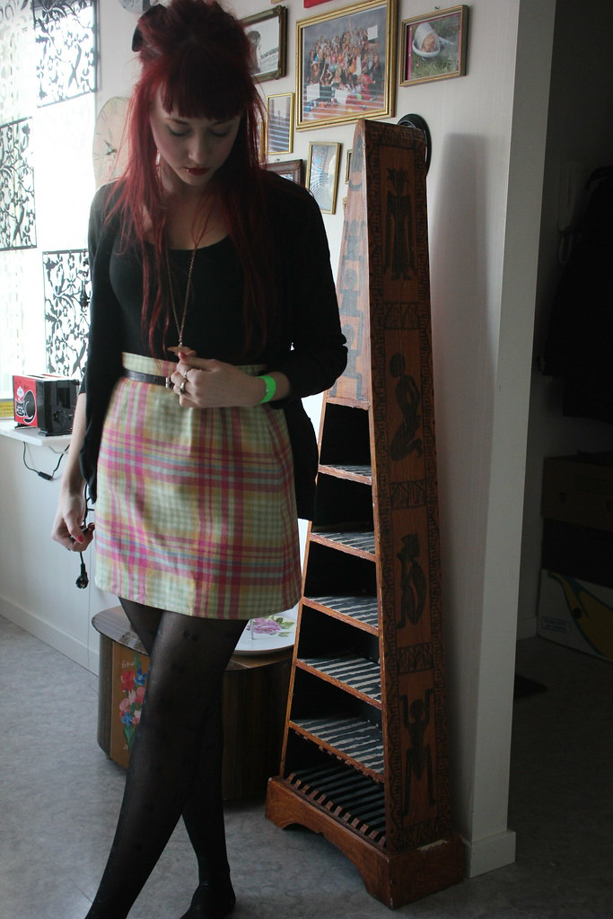 candy color skirt.