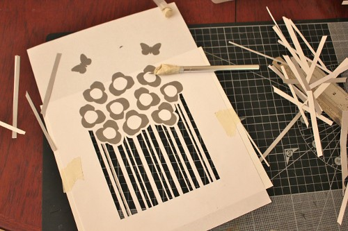 flower bunch - cut out stencils