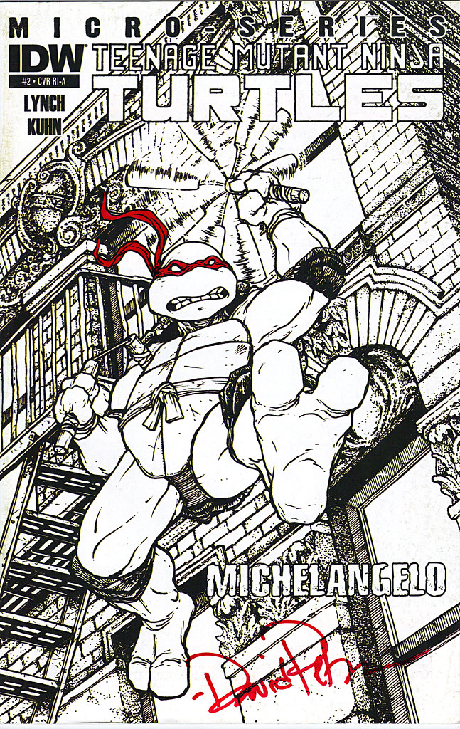 IDW :: Teenage Mutant Ninja Turtles MICRO-SERIES #2; MICHELANGELO // COVER RI-A .. signed by David Patterson (( 2011 )) by tOkKa