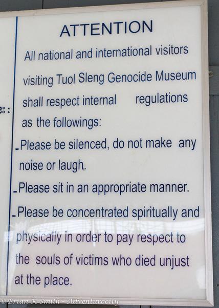 Tuol Sleng Genocide Musuem regulations