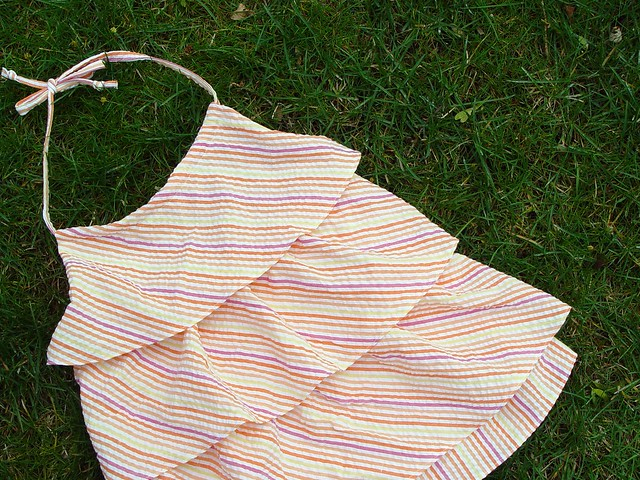ruffled halter in striped seersucker