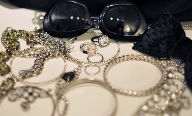 silver jewelry-rhinestones- rings-sunglasses
