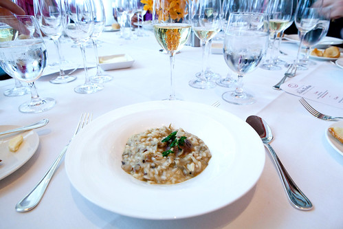 2nd course: Wild mushroom risotto, paired with Nicolas Feuillatte Cuvée Spéciale 2000