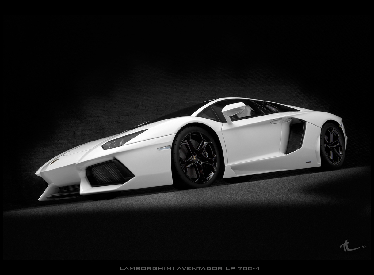 An41 Lamborghini Car Exotic White Art: Fronti Art White Lady Lamborghini Aventador LP 700-4