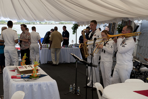 Playing at a reception on board the USS Chafee after the Prime Minister and I signed a Shiprider Agreement.