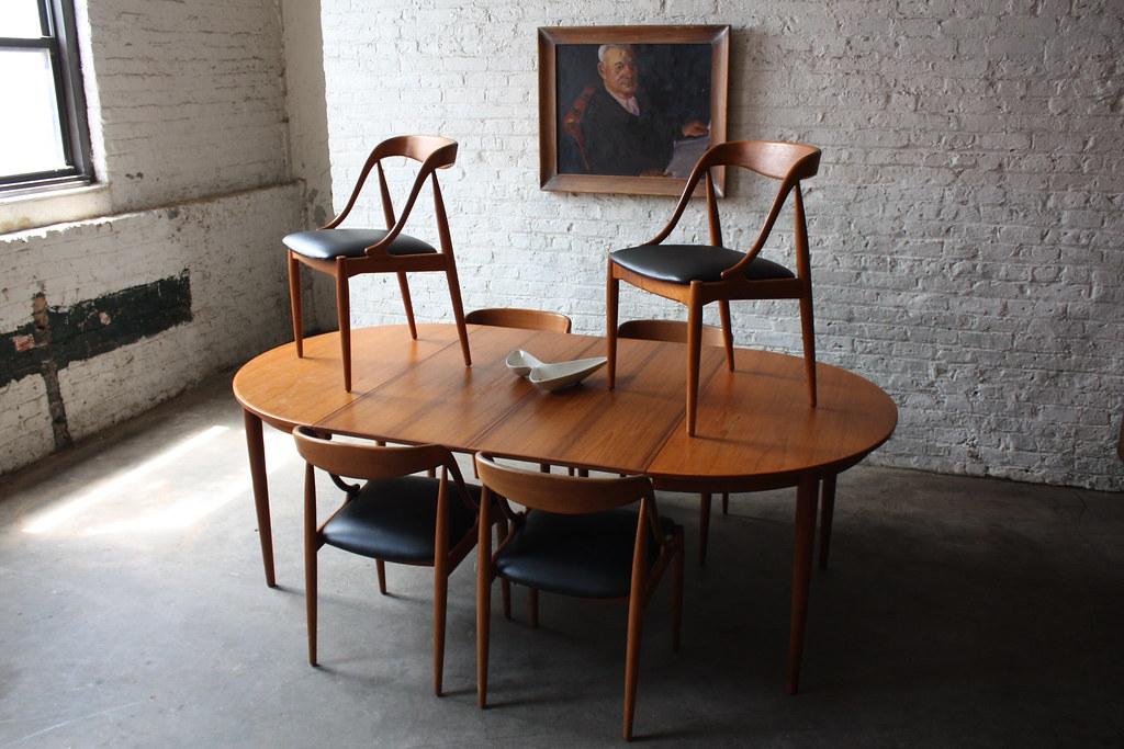 Best Breathtaking Johannes Andersen Danish Modern Teak Dining Table and Chairs Denmark us