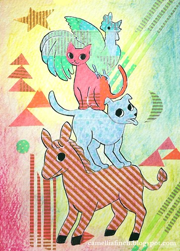 紙膠帶X明信片 不萊梅樂隊的動物疊疊樂 試著用水彩畫抽象背景 只是有點失敗/_\
