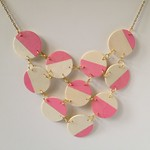 Pink + Wood Bib Necklace 12