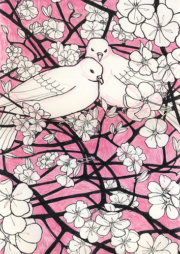 Doves in Cherry Blossom