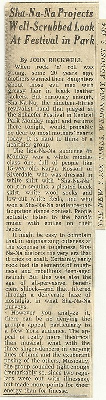 1974 New York City: Sha Na Na Concert Review