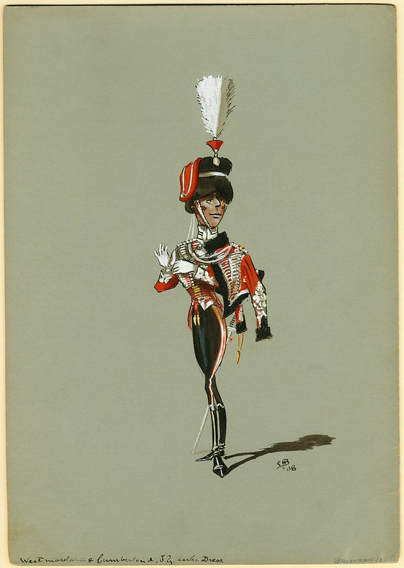 humorous sketch of absurdly thin, smiling smugly, dandy-soldier in plumed helmet