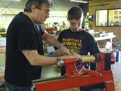 Dan and George on the lathe