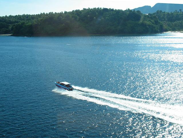 Aerial view of speedboat, Phi Phi Islands